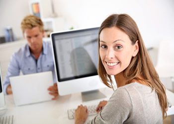 woman working at a PC